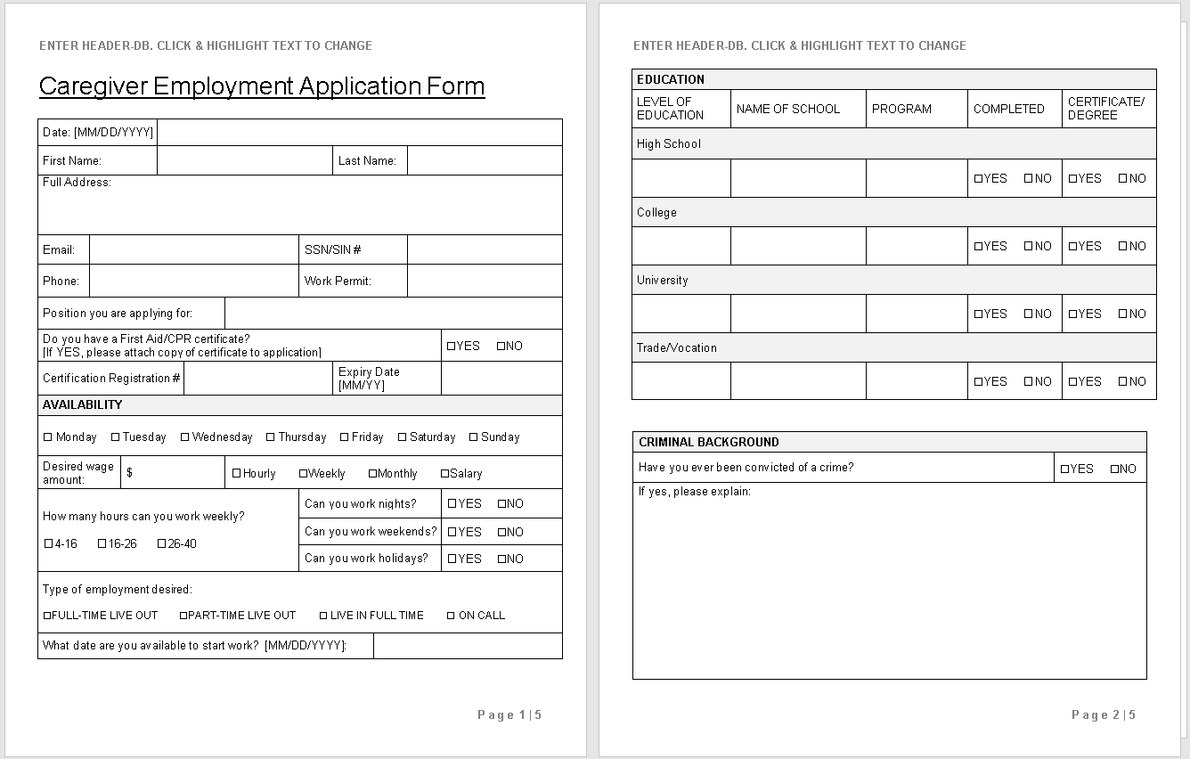 Caregiver Employment Application preview-Hire Private-wise caregiving
