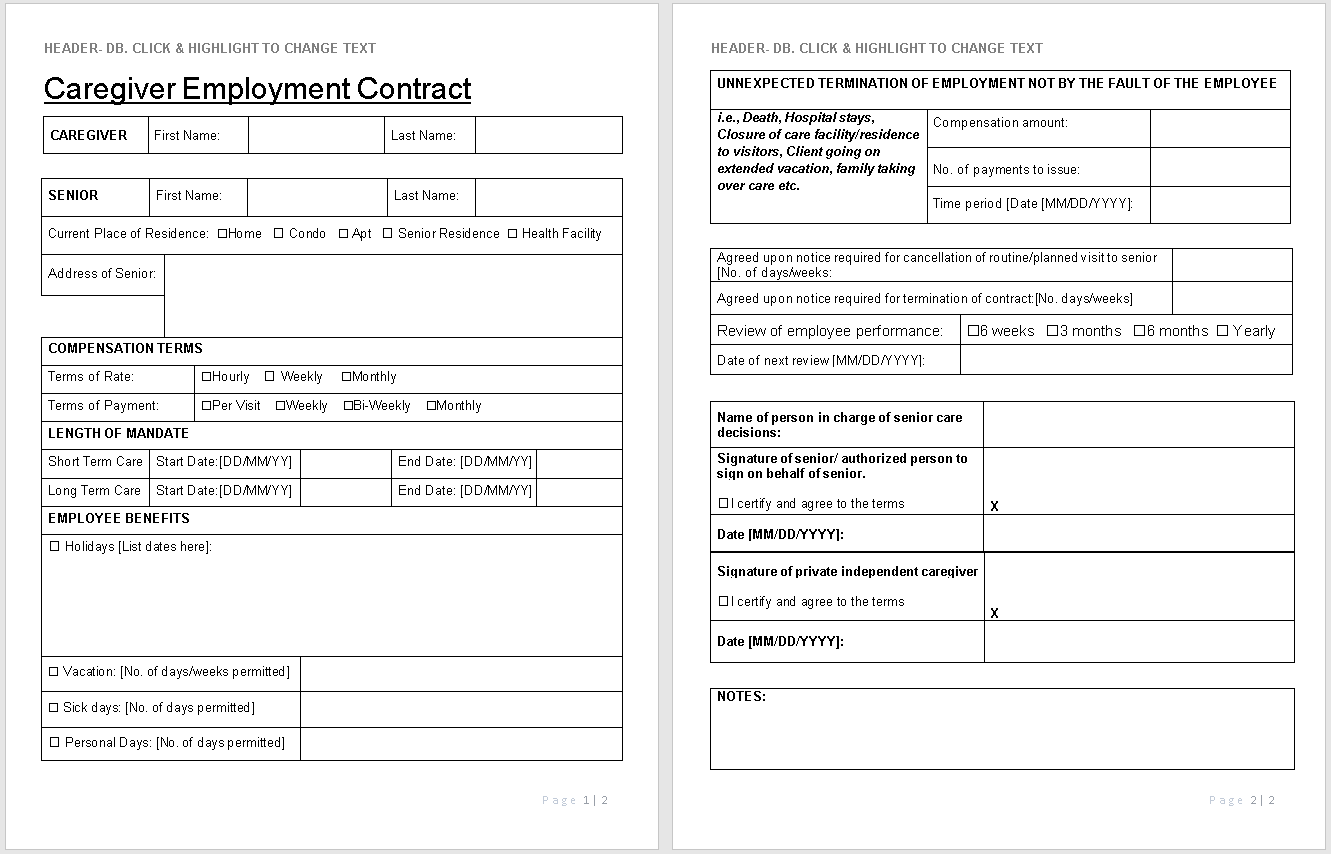 Caregiver Employment Contract Template-preview-Simplified version-Hire Private