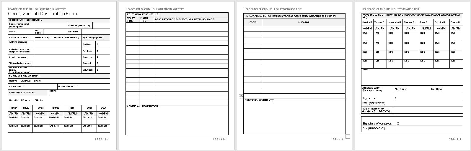 Caregiver Job Description Form Template-full preview-Hire Private-wise caregiving