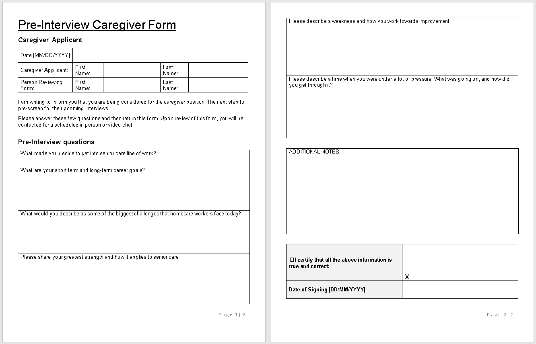 Pre-Interview Caregiver Questionnaire Form Template-wise caregiving