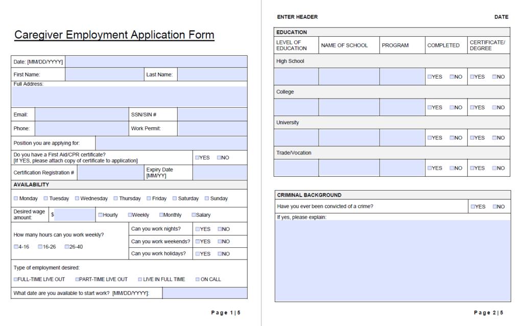 caregiver employment application form template-wise caregiving