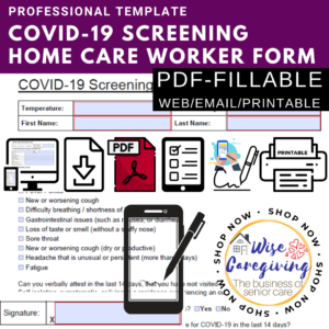 covid-19 screening form for care worker-pdf fillable form- HYBRID-digital and printable template