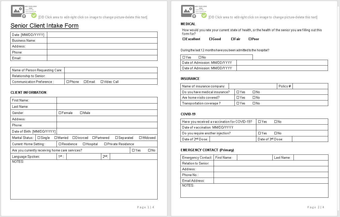 Senior Client Intake Form-sample