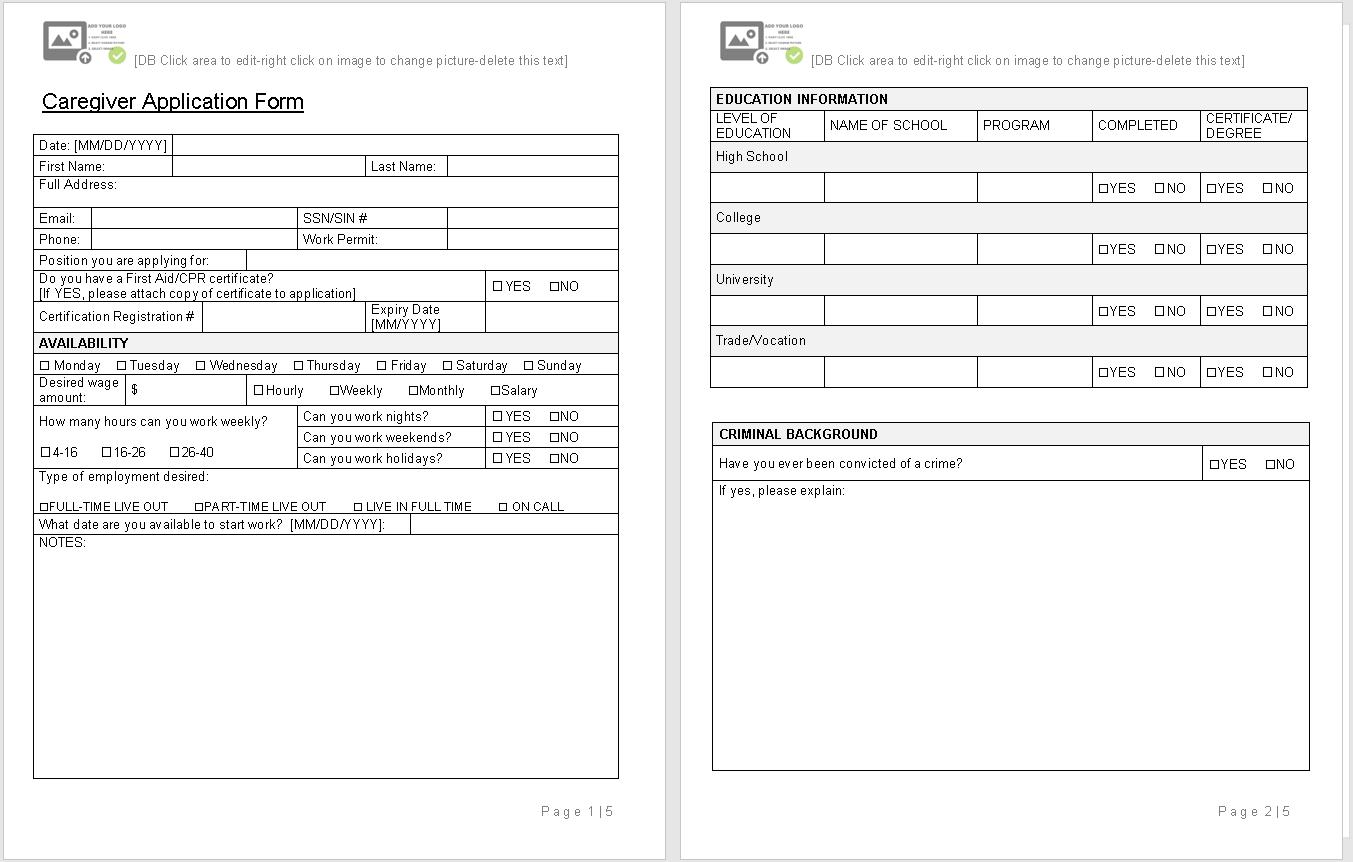 caregiver application Form-sample