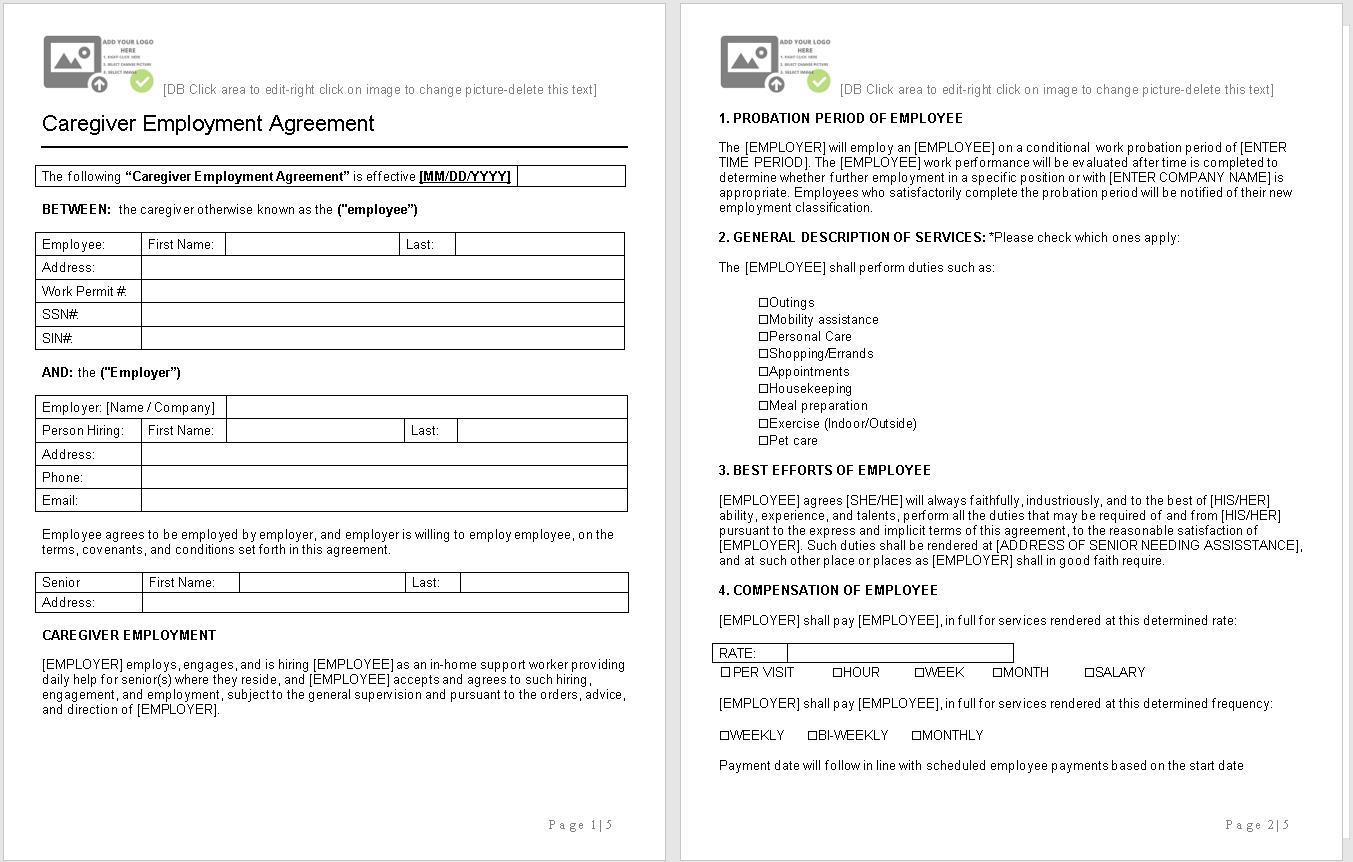 caregiver employment agreement-sample