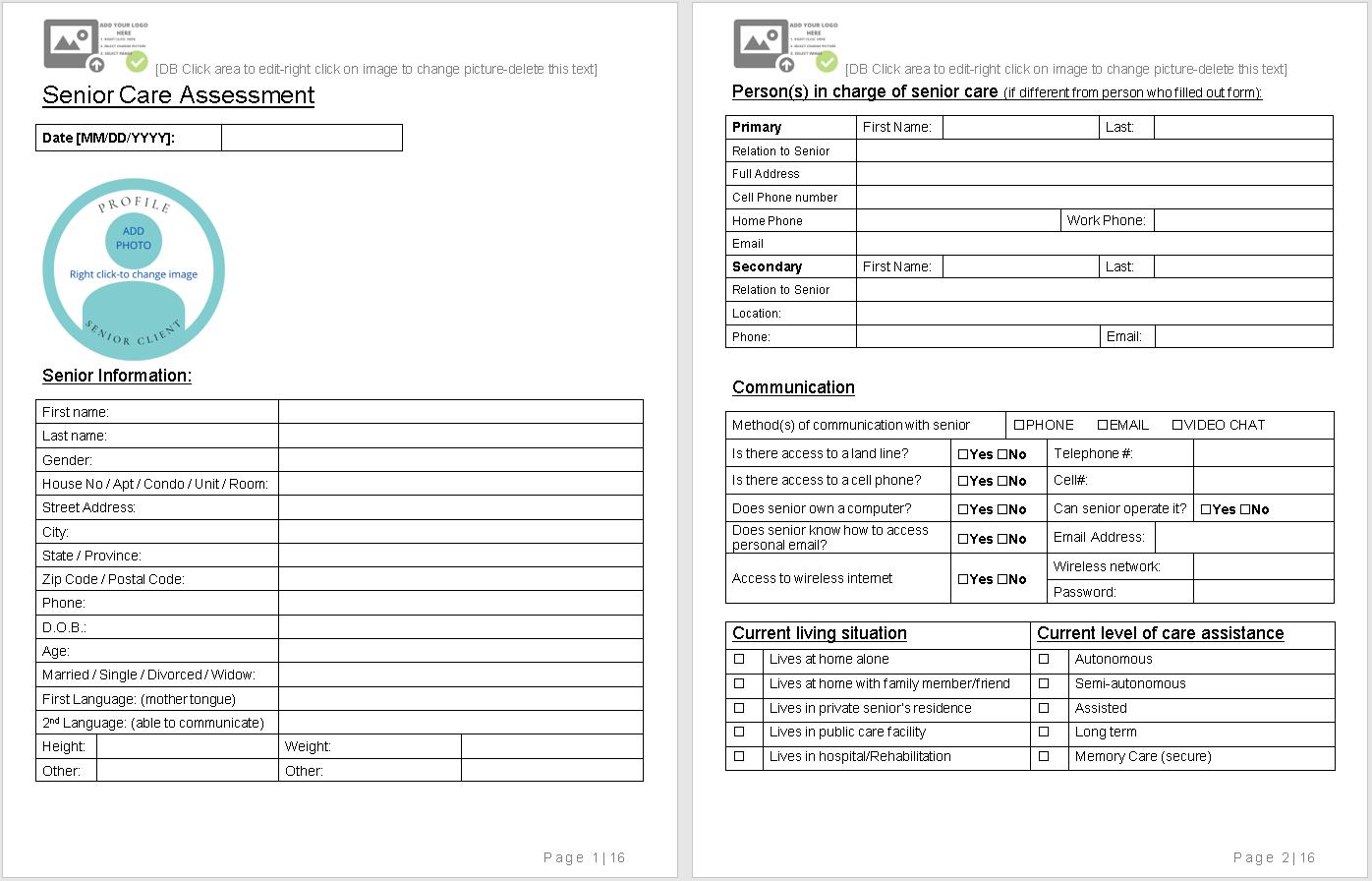 senior care assessment-sample