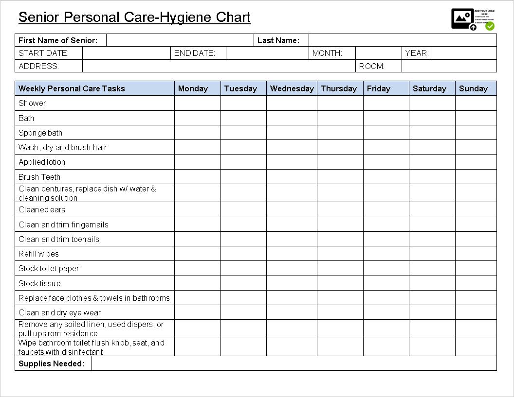 senior personal care-hygiene chart-sample